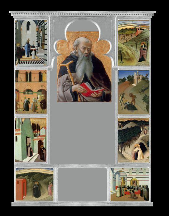 Maestro dell'Osservanza (Sano di Pietro?) - Pala di Sant'Antonio abate - 1440 ca. -  tempera su tavola - 1440 circa - è smembrata in tanti pannelli, distribuiti in vari musei.