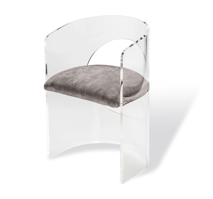 The Corin Circle Chair By Interlude Home Is A Luxurious And Unique Piece.  Itu0027s Modern Acrylic Frame And Plush Grey Velvet Cushions Create A Chic And  Comfy ...