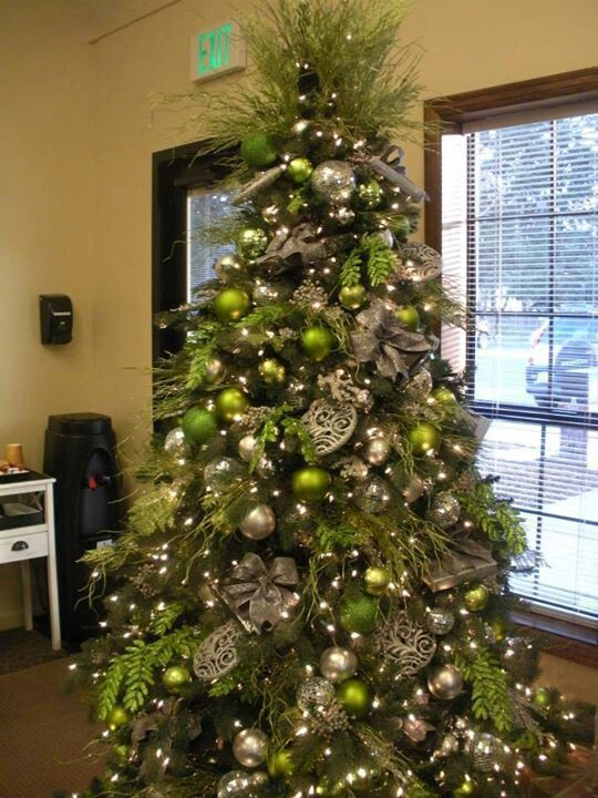 Green And Silver In The Office At Nwc Green Christmas Tree Decorations Green Christmas Tree Green Christmas