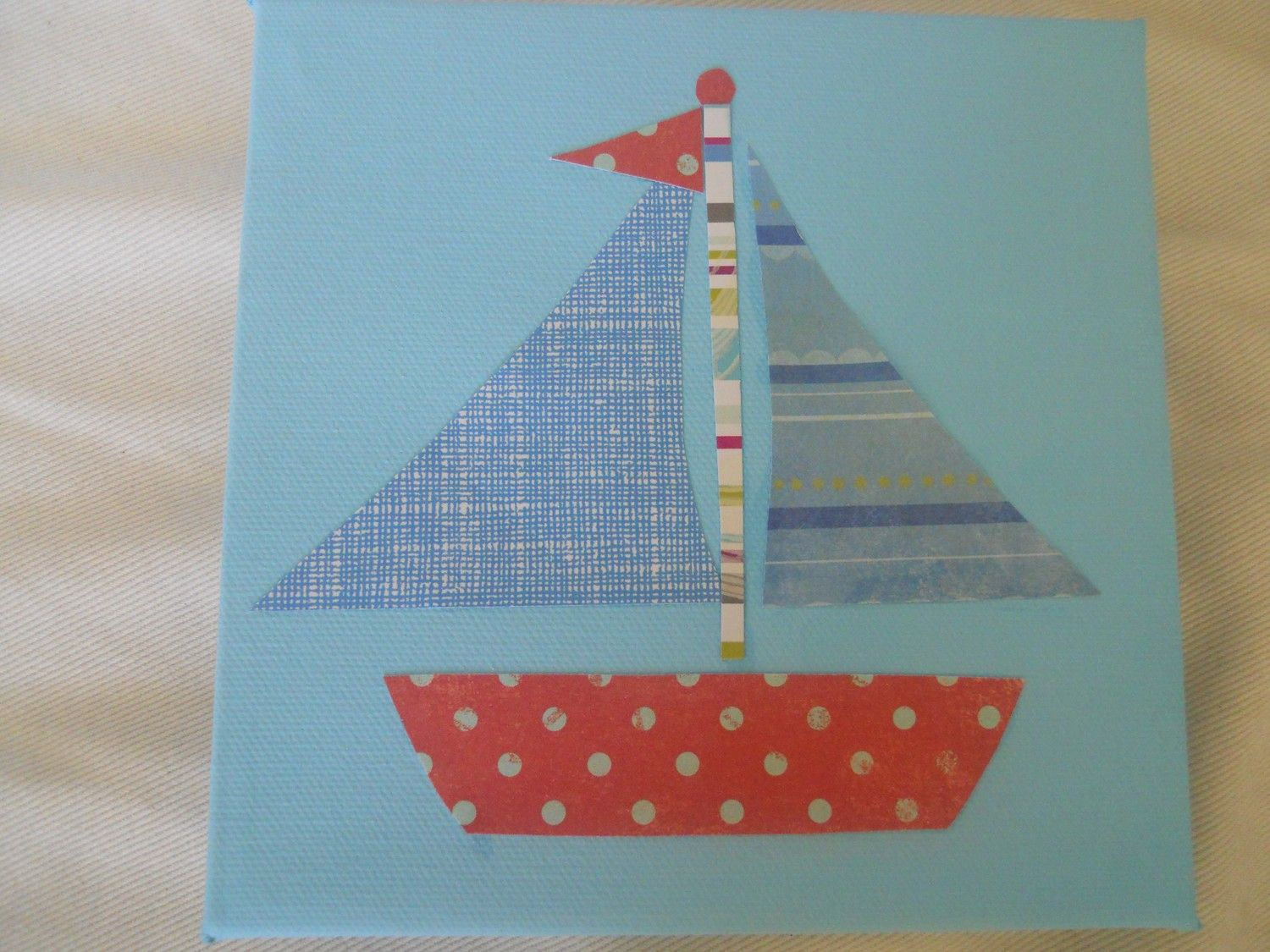 I could make thisilboat canvas nursery decor baby things