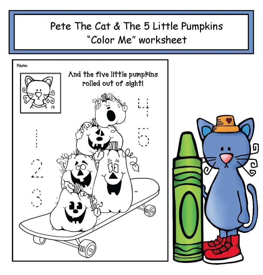 Pete The Cat S 5 Little Pumpkins Worksheet 5 Little Pumpkins Pumpkin Coloring Pages Pumpkin Poem