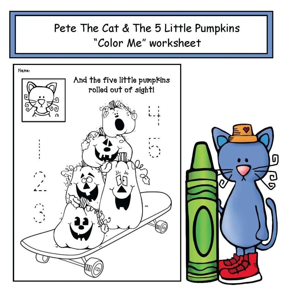 """Pete the Cat's """"5 Little Pumpkins"""" Worksheet 5 little"""