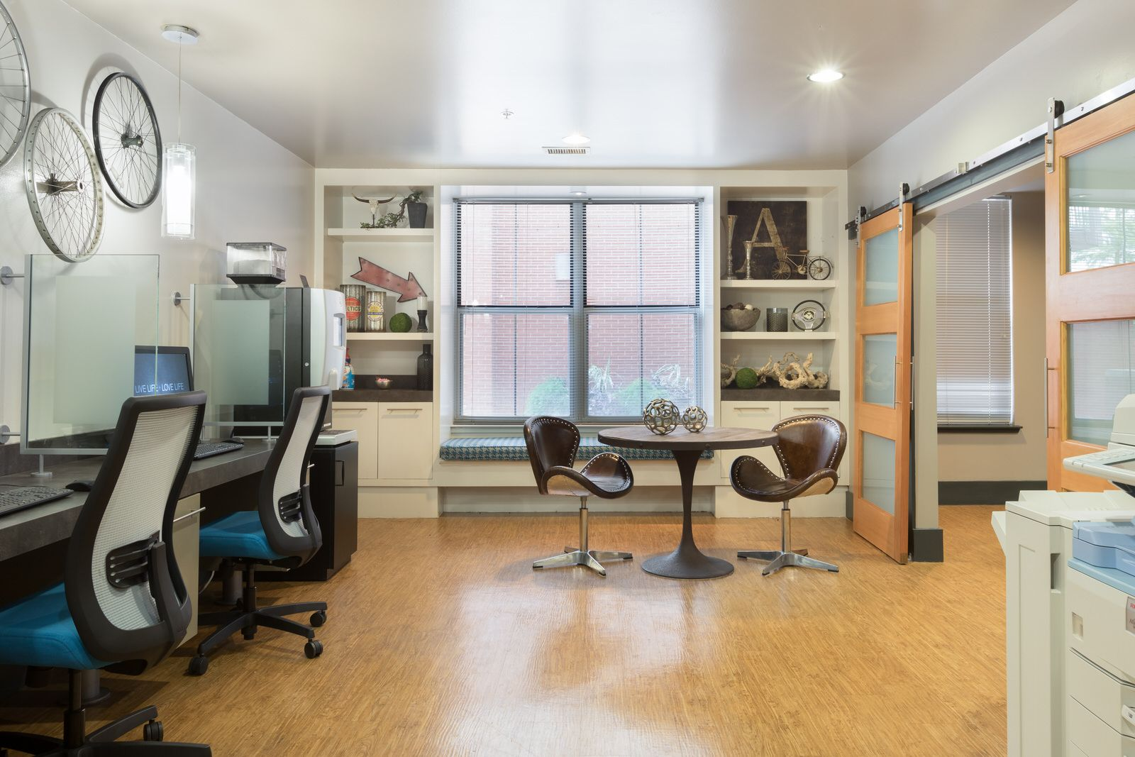 Our business center is stylishly furnished. Austin