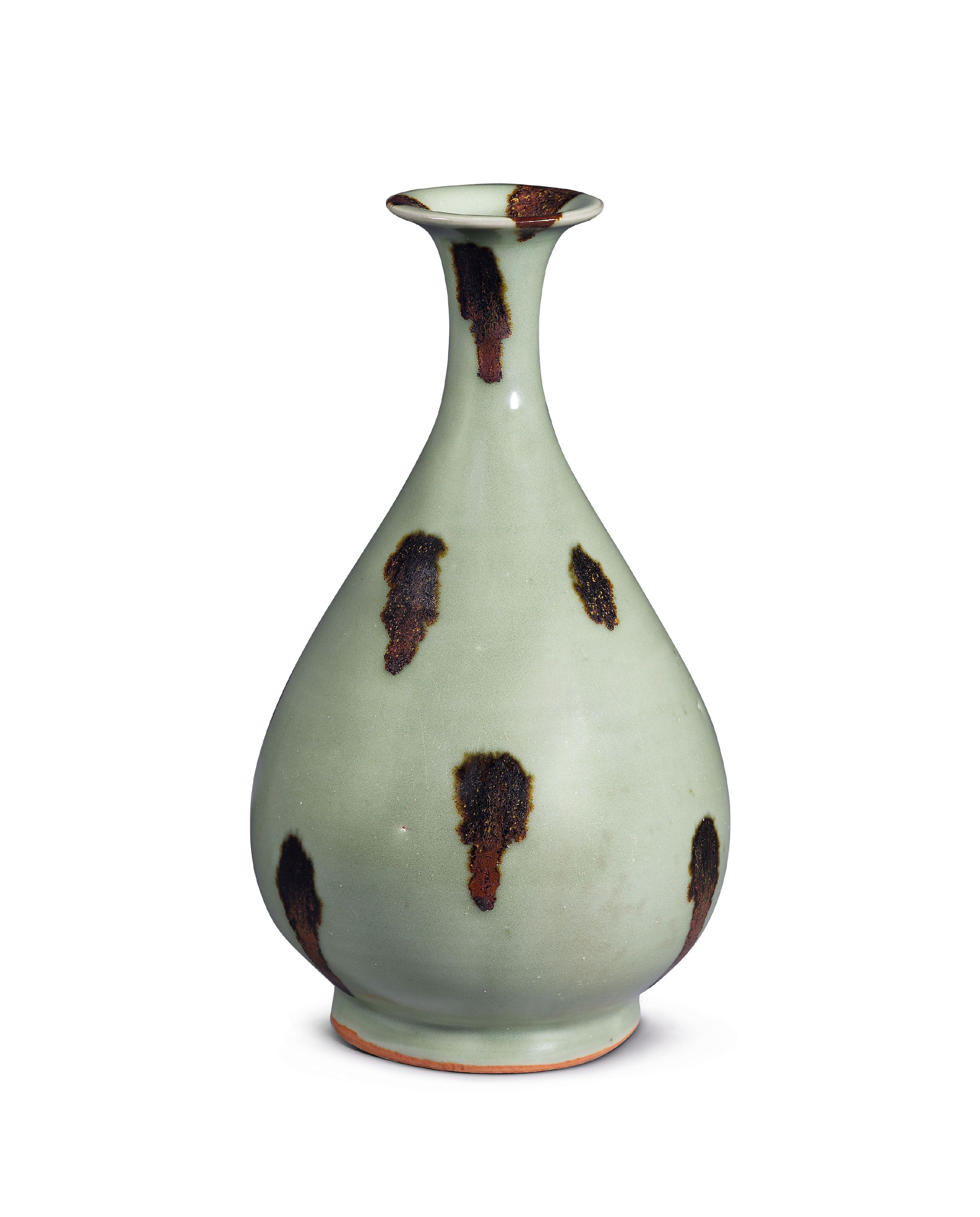 A Very Rare Longquan Celadon Russet Splashed Vase Yuhuchunping Yuan Dynasty 1279 1368 13th Century All Other C Celadon Chinese Ceramics Chinese Pottery