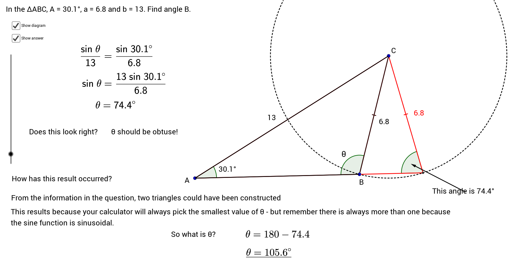 Sine Rule Ambiguous Case Geogebra Pinterest Study Notes