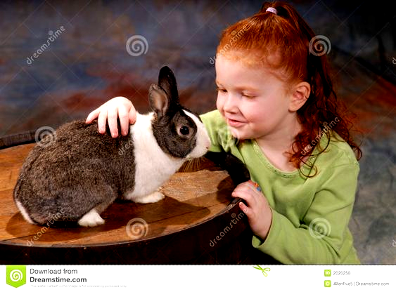 Cute redhaired girl (five years old) stroking a pet