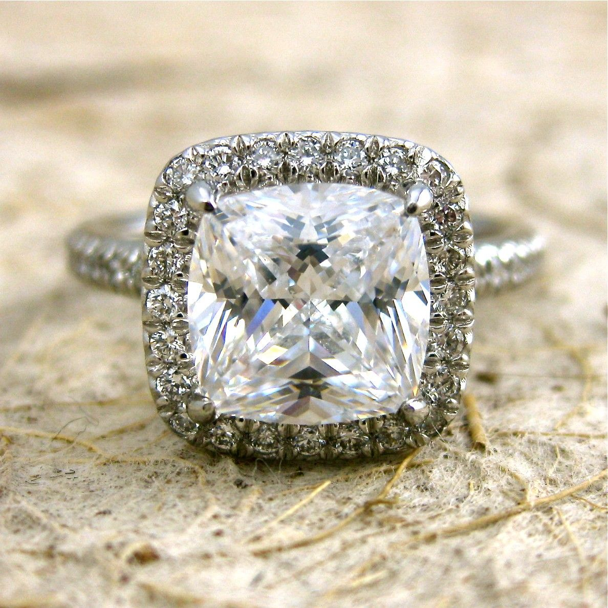 Custom made micro pave diamond engagement ring in platinum with your
