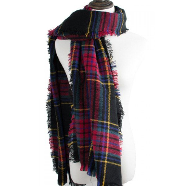 Chic Fringed Edge Multicolor Plaid Pattern Scarf For Women