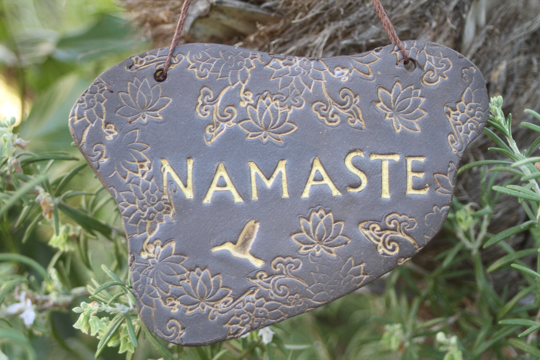 Lotus Flower Namaste Sign Handmade Ceramic Yoga Greeting Wall