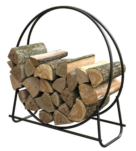 Firewood Log Rack Storage Holder Outdoor Wood Steel Metal Round Loop Fireplace Outdoor Firewood Rack Firewood Storage Indoor Firewood