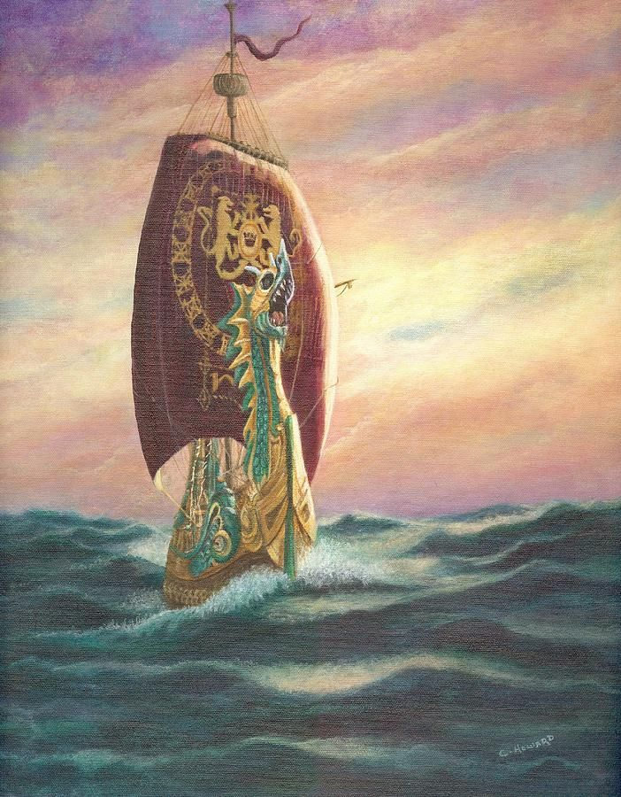 the dawn treader riding the waves painting the dawn treader