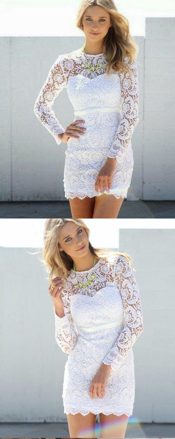 Jewel white lace tight short formal dress with long sleeves in