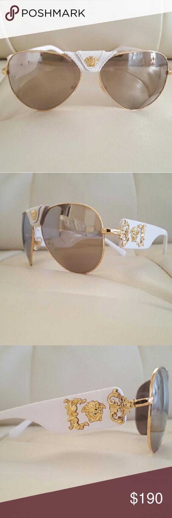 15a9efb27d8 VERSACE 2150 Sunglasses -Pilot Shape -Acetate frame with Medusa detail  -Gold Medusa detail at temples and bridge Model 2150-Q Size  62 Color 1341  Versace ...