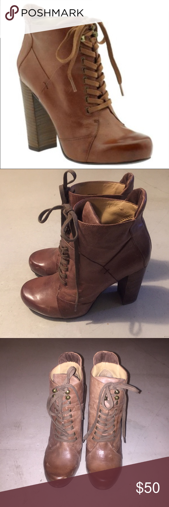 "Nine West brown checkit bootie 100% brown leather, 3.5"" heel. Style name checkit. Worn once. Nine West Shoes Ankle Boots & Booties"