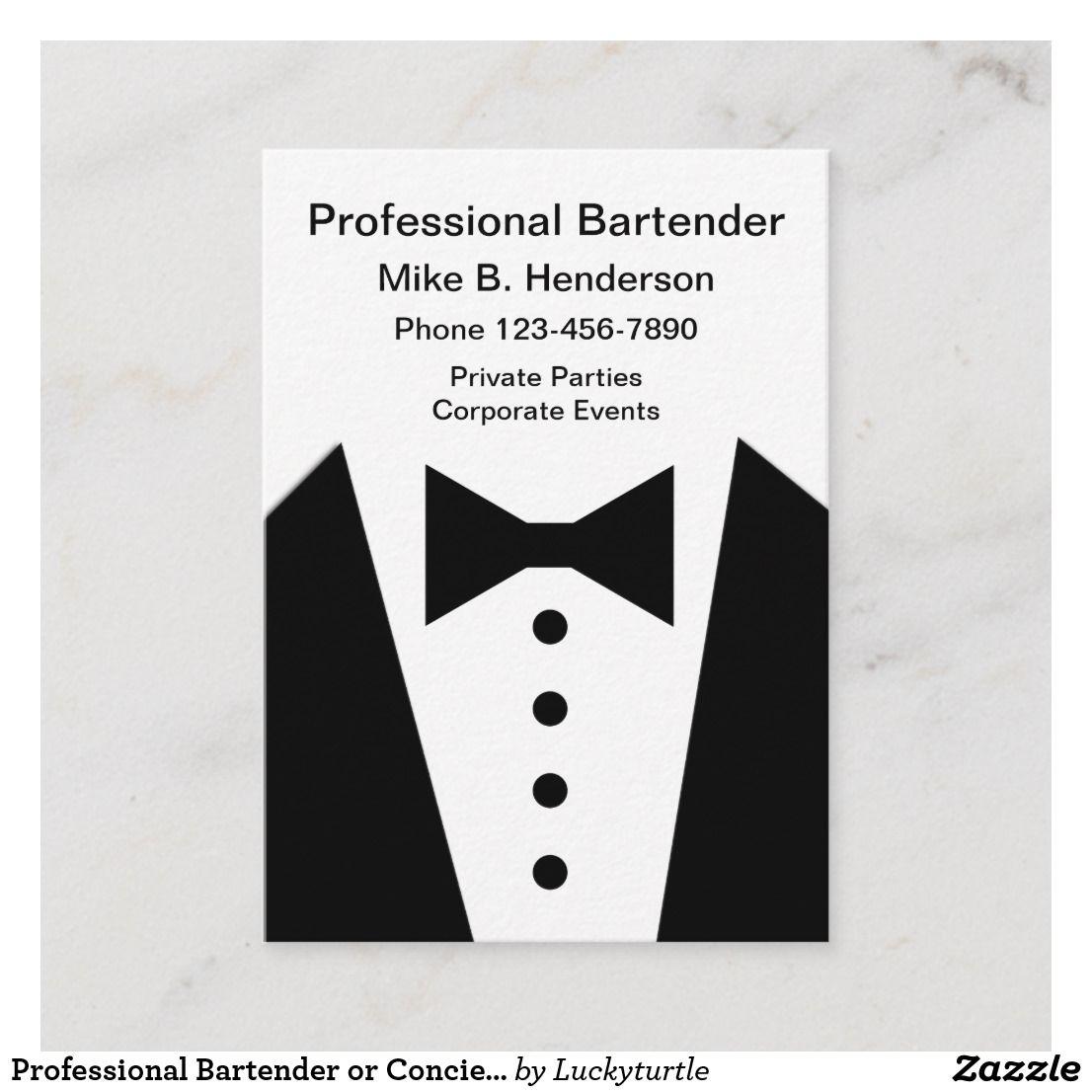 Professional Bartender or Concierge Business Card |  #businesscards #businesscardmaker #businesscarddesign #businesscardtemplate