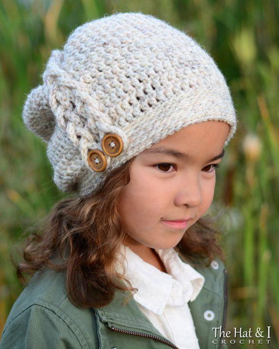 CROCHET PATTERN - Buttons & Braids Slouchy - crochet slouchy hat ...