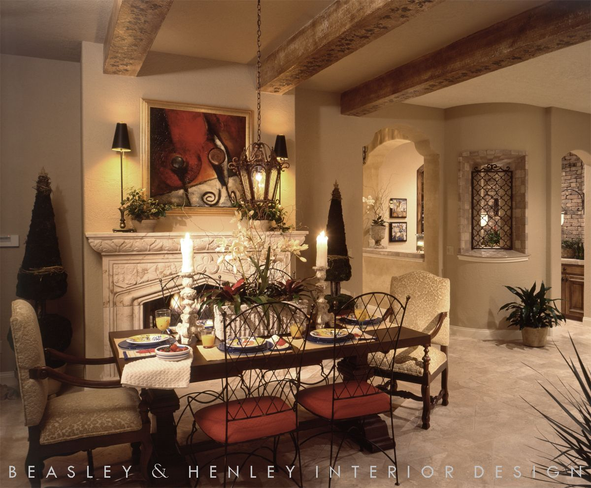 Fireplace In An Old World Style Breakfast Room Apartment
