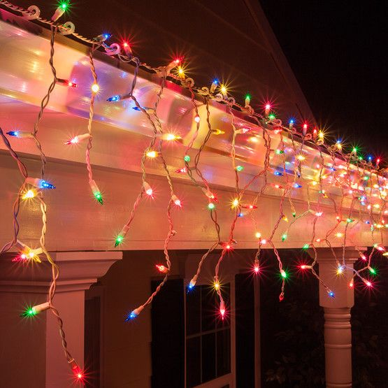150 Multi Red Green Pink Blue Yellow Icicle Lights White Wire Icicle Lights Outdoor Christmas Lights White Wire Christmas Lights