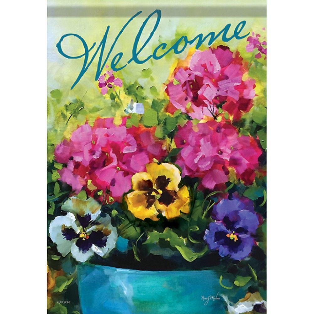 Watercolor Florals Welcome Double Sided Garden Flag