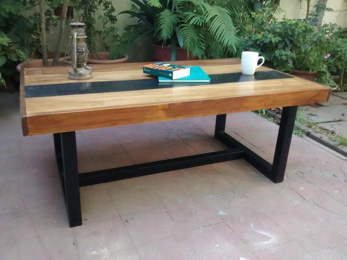 Mesa ratona de hierro y madera estilo industrial laqueada for Mesas de hierro forjado y madera