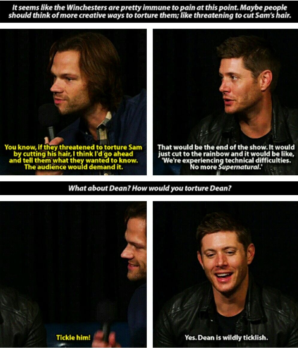 lol he said it! It's canon! a scene showing Dean getting tickled