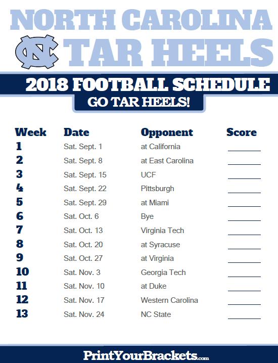 2018 Printable North Carolina Tar Heels Football Schedule ...North Carolina Football Schedule