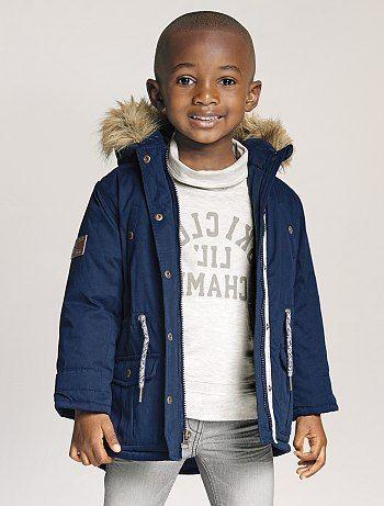 auténtico el más nuevo precio de descuento Parka con capucha forrada con tejido polar azul Infantil ...