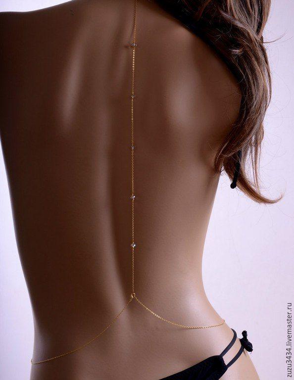 Купить Украшения на тело,цепи на тело,колье,body chain - золотой, цепочка на тело