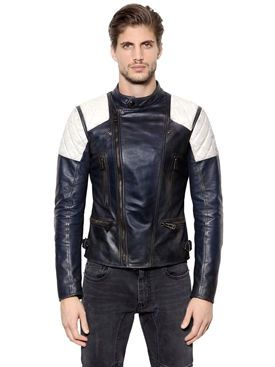belstaff - men - leather jackets - greensted two tone leather moto jacket