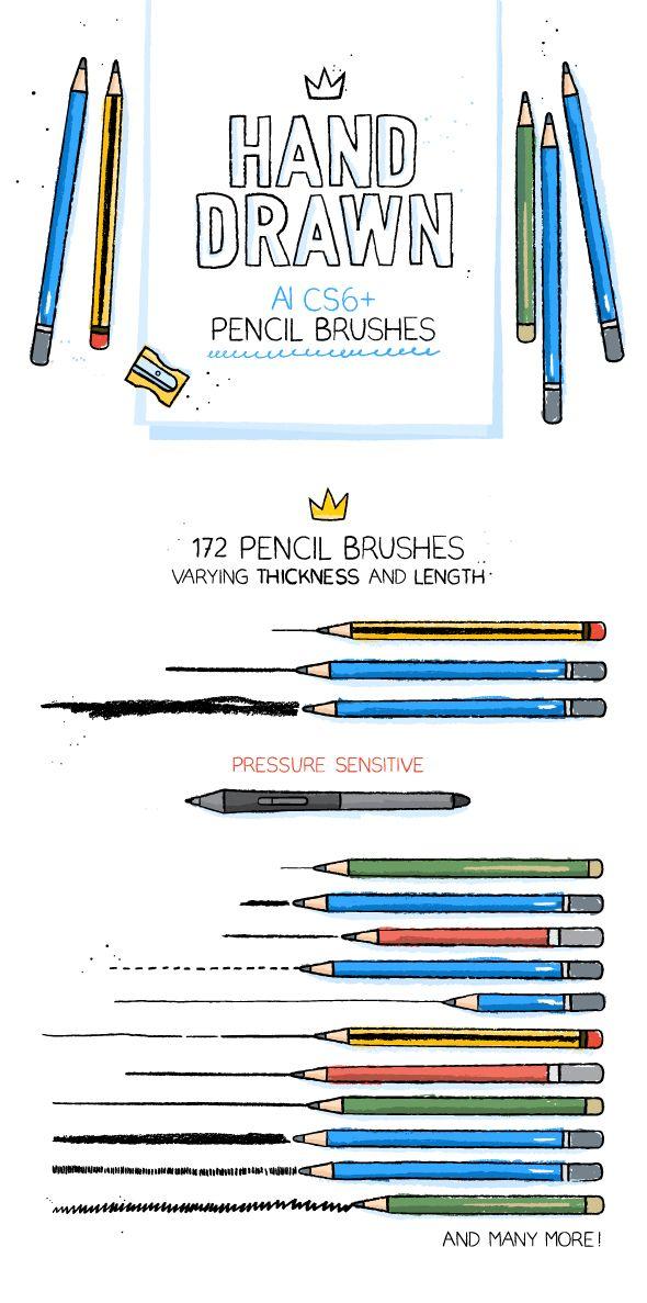 $10 - 172 Illustrator Pencil Brushes - Brushes Illustrator
