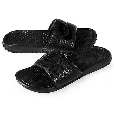 half off e34ee dd153 Nike Benassi Jdi Mens 343880-001 All Black Slide Sandals Slides Slippers Size  12