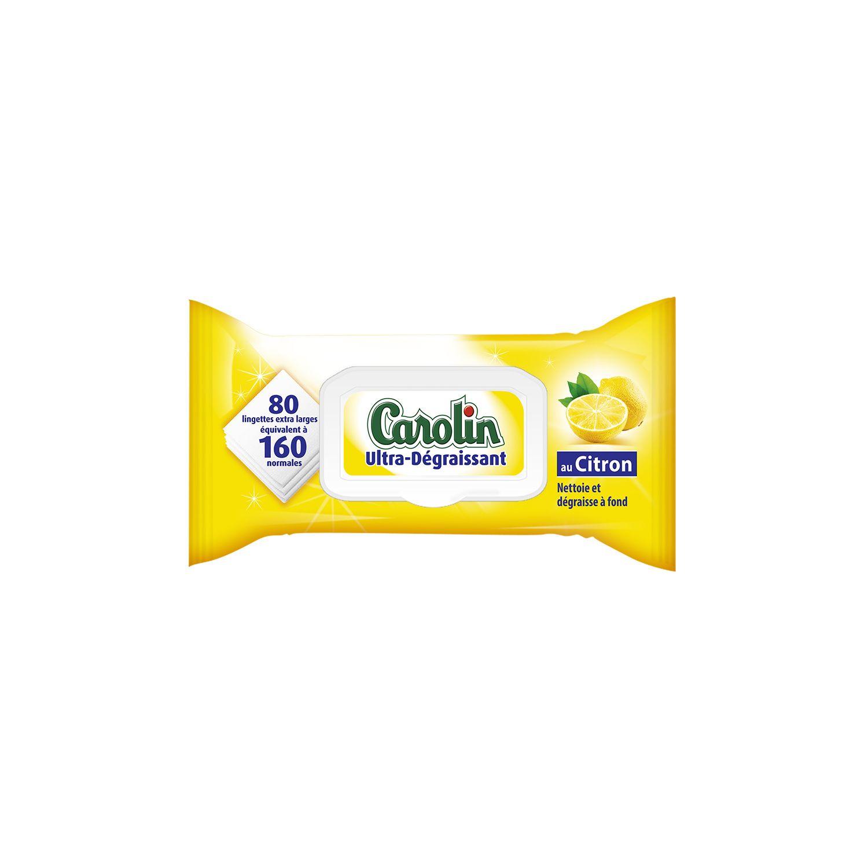 Lingettes Ultra Degraissantes Citron Carolin Le Paquet De 80 A