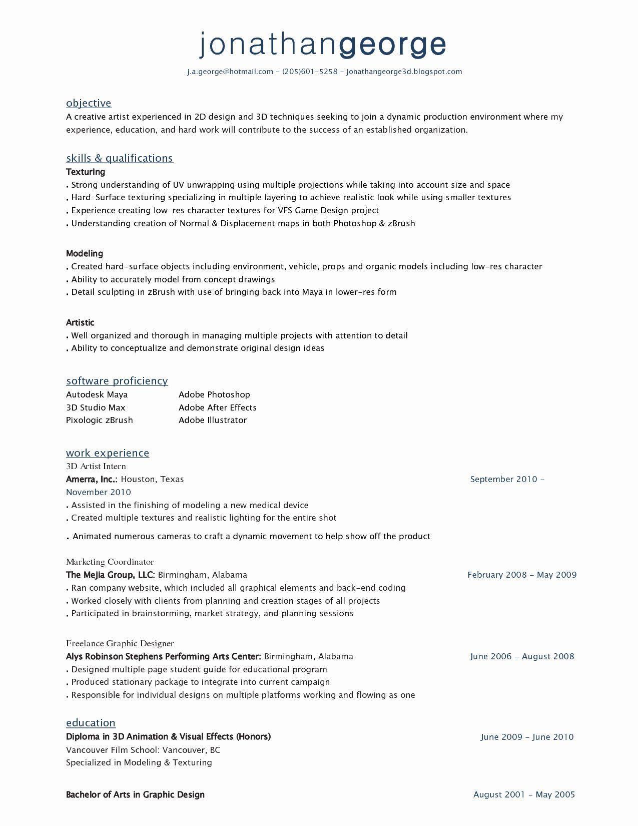 Resume Format 3d Artist Resume Format Makeup Artist Resume Artist Resume Contract Template