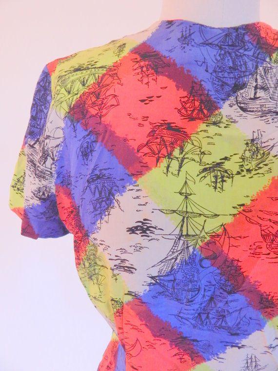 Fun Colorful 1950s Novelty Print Silk  Blouse by VintageZipper