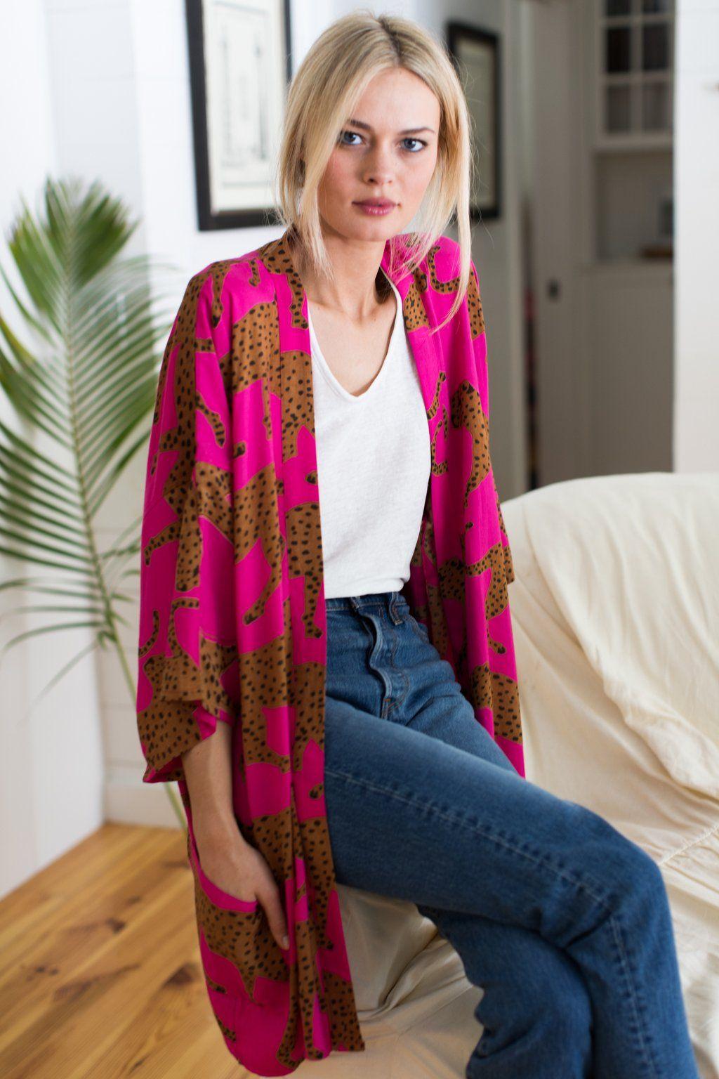 Fete Kimono - Pink Yarrow Cheetah #emersonfry