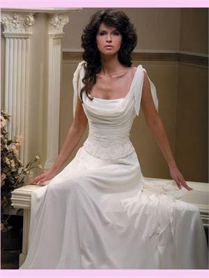 White Column Chiffon Wedding Dress (would make a beautiful reception ...