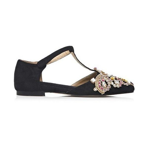 Colorful Rhinestone Flock T-Strap Flat Shoes (390 RON) ❤ liked on Polyvore featuring shoes, flats, t bar flat shoes, t bar flats, t strap flats, t strap shoes and rhinestone shoes