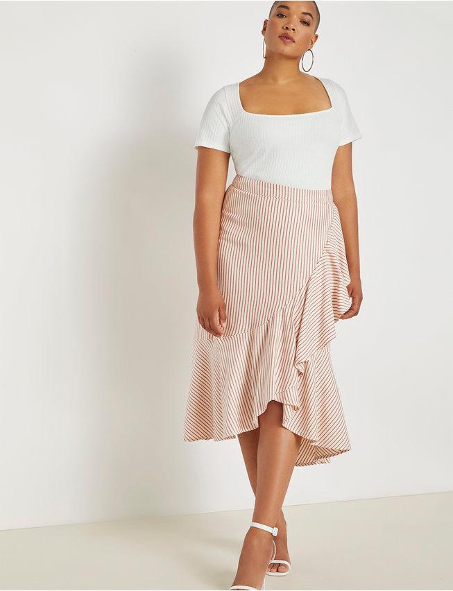 Midi Skirt with Flounce | Women's Plus Size Skirts | ELOQUII 3