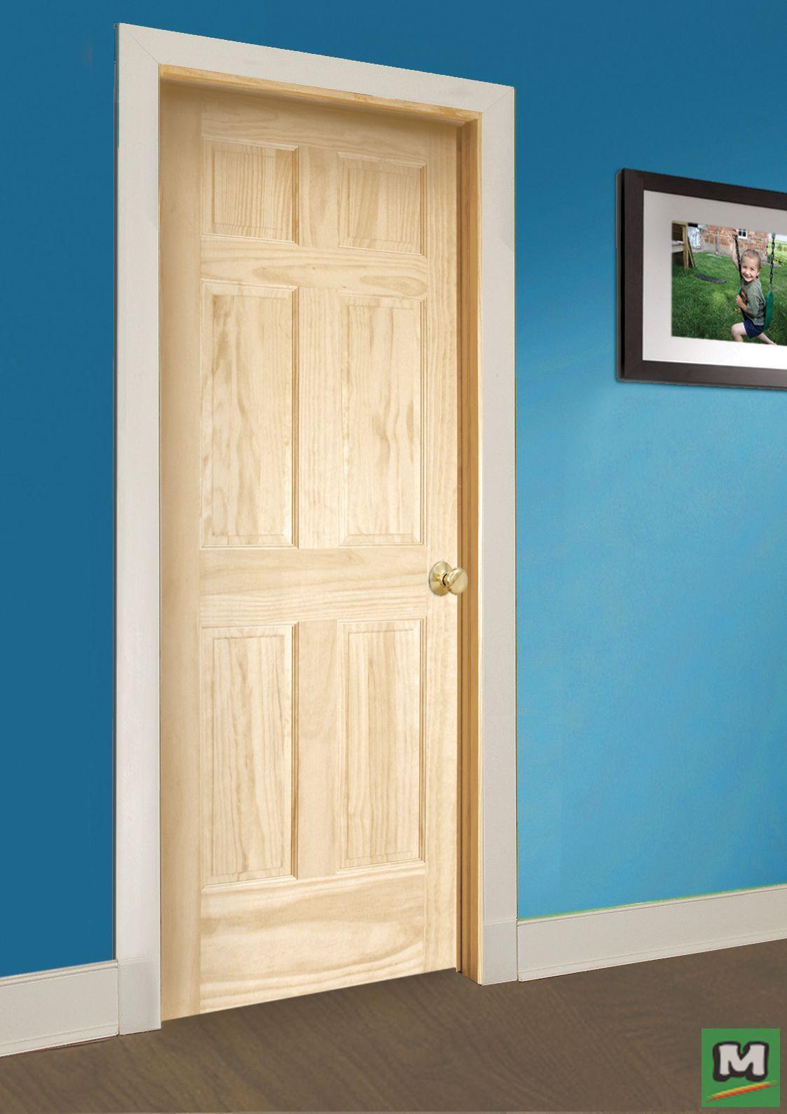 This Mastercraft Ready To Finish Pine 6 Panel Prehung Interior Door