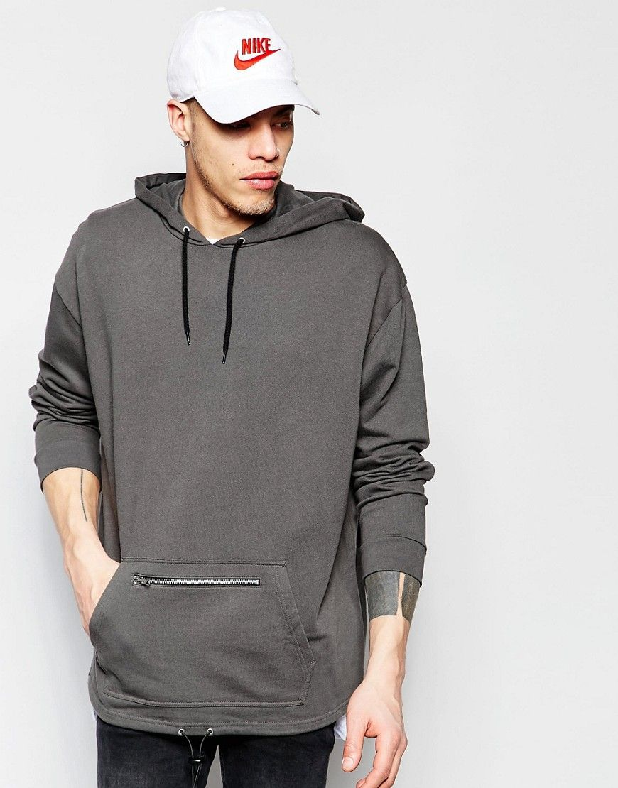 ASOS Oversized Longline Hoodie With Zip Pocket & Drawstring at asos.com