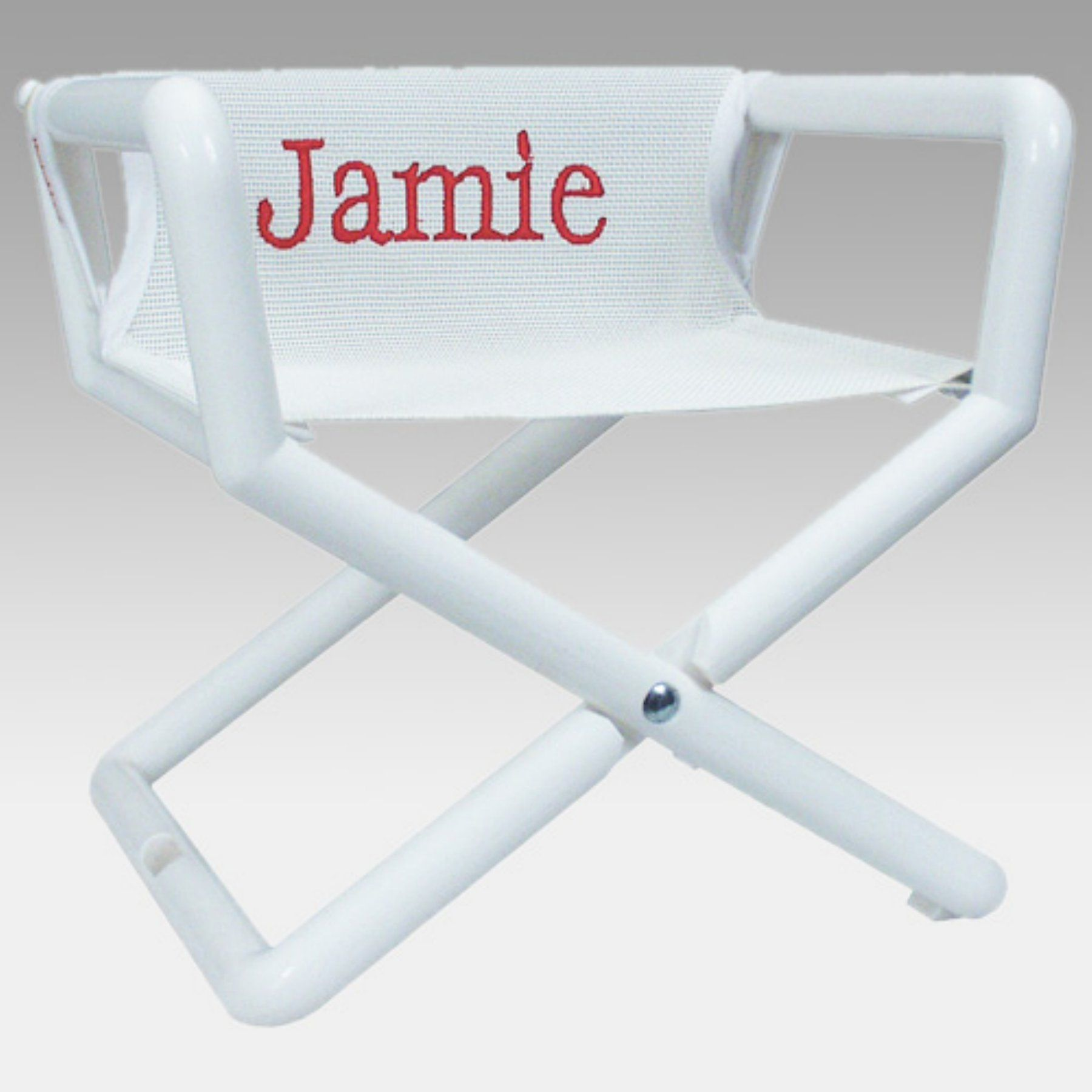 Hoohobbers Personalized White Mesh Kids Directors Chair   Embroidered    200 19E
