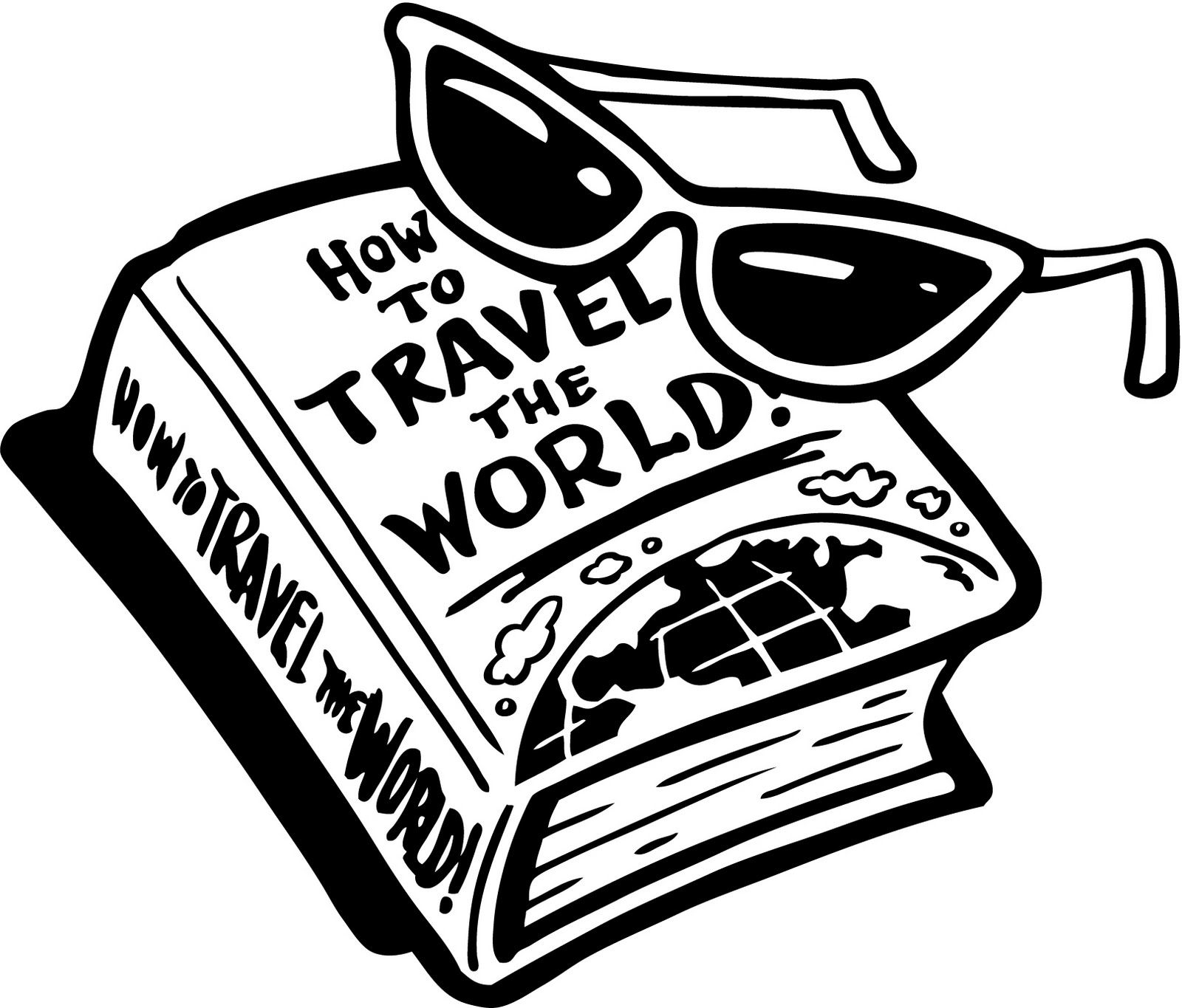 Clip Art Black And White Travel Clipart Clipart Kid Image