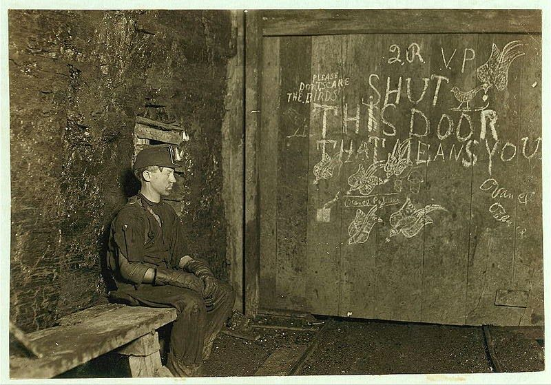 vintage everyday: Vintage Portraits of Child Labor in the United States in the Early 20th Century-This is Vance, a Trapper boy of 15 years old, whose job is to open and close the door. 1908.