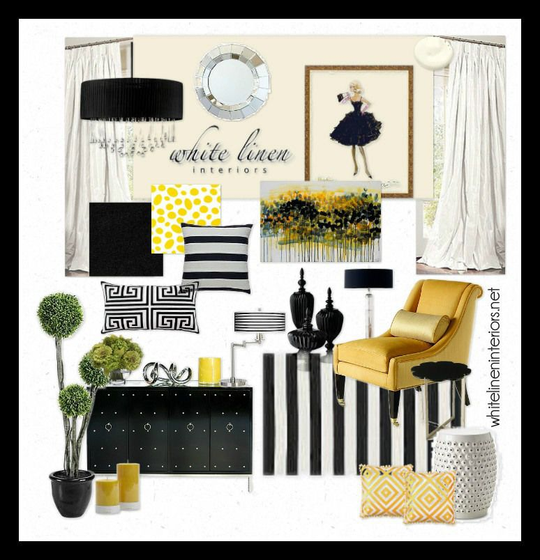 Black white yellow striped black and white with pops of - Black white yellow living room ideas ...
