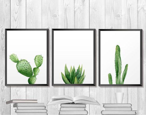 Green Plant Print Cactus Printable Botanical