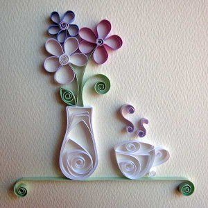Pretty Quilled Vase And Teacup Embellishment Paper Quilling
