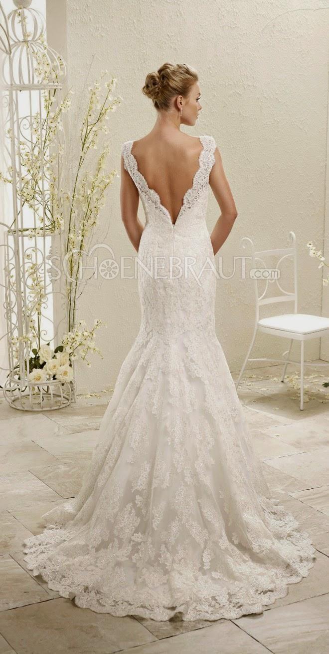 Rückenfrei Spitze Brautkleid V Ausschnitt Lace Hochzeitskleid ...