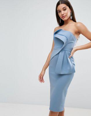 53af4ed92c1a4a Bandeau Fold Bow Front Scuba Midi Dress | Homecoming | Dresses, Asos ...