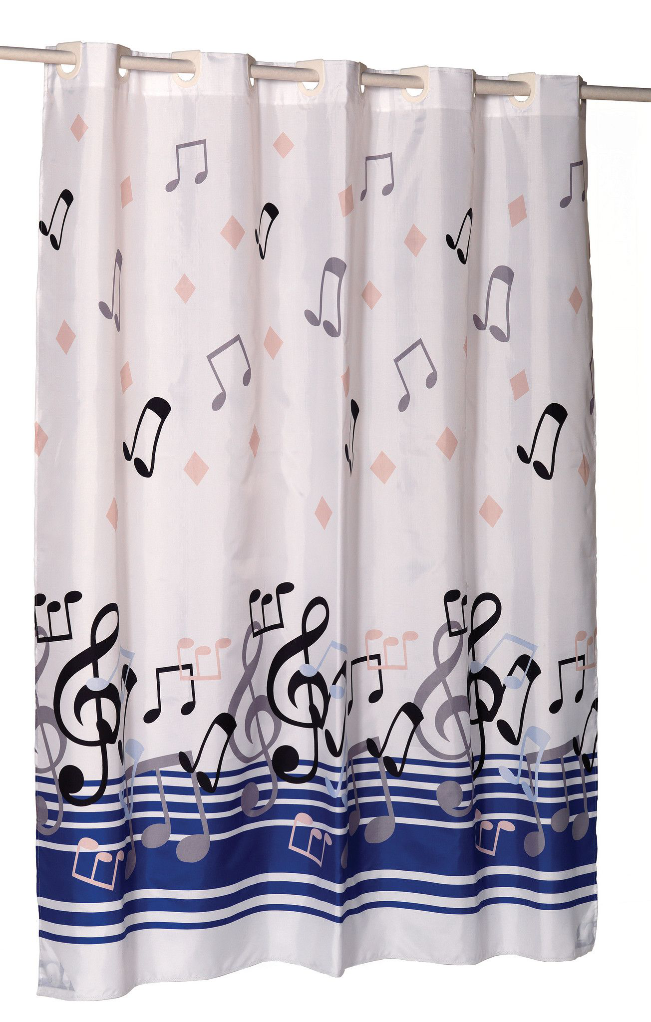 Music Notes 70 X72 Ez On Fabric Shower Curtain With Built In Hooks