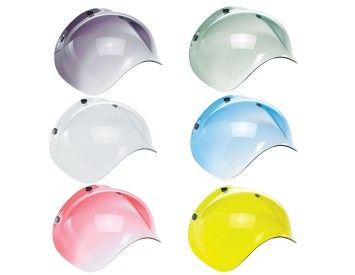 Retro Universal 3-Snap Bubble Visors for open face helmets in a variety of styles & colours